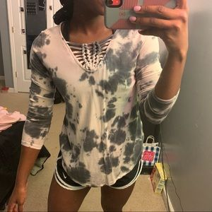 Elegant Grey & Cream Patterned Shirt with Accent